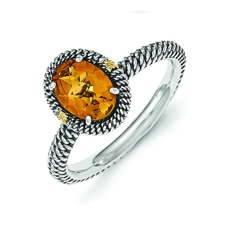 Shey Couture Sterling Silver w/14k Oval Citrine Ring