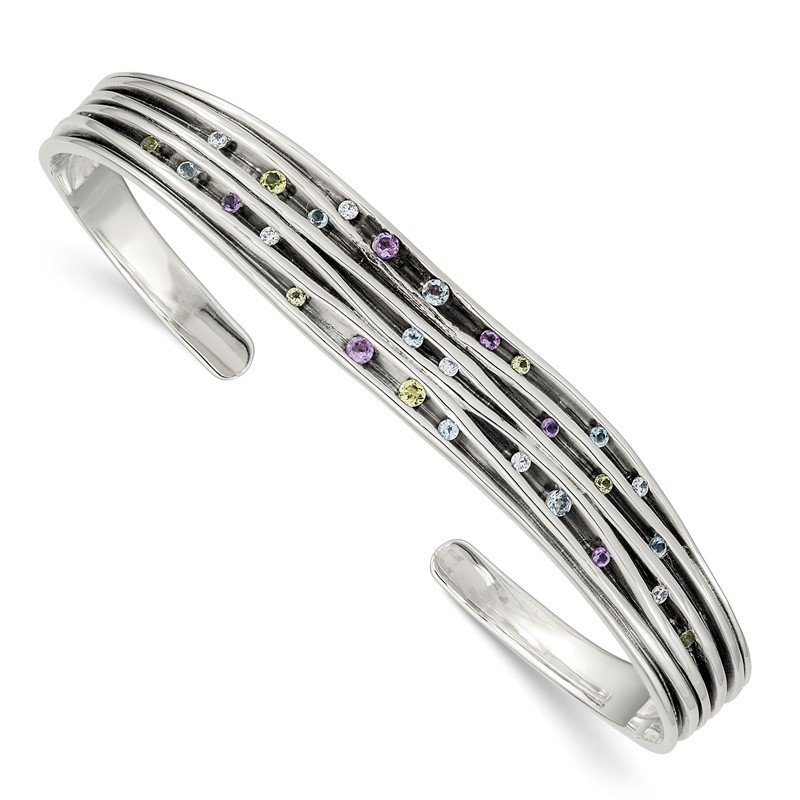 Quality Gold Sterling Silver Antiqued Blue Topaz/Peridot/Amethyst & CZ Cuff Bangle