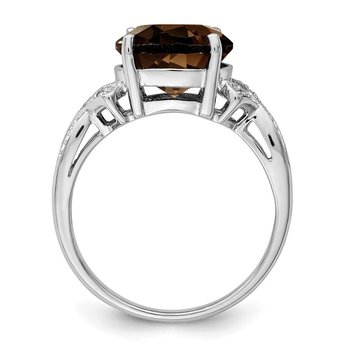 Sterling Silver Rhodium Smoky Quartz Diamond Ring