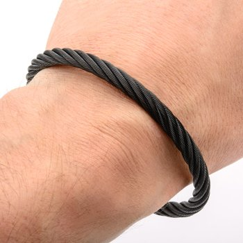 Extra Large Cable Bracelet with Matte Finished Black Plated Clasp