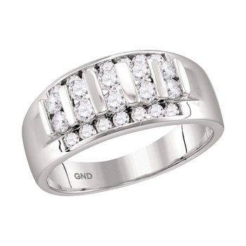10kt White Gold Mens Round Channel-set Diamond Raised Wedding Band 1.00 Cttw