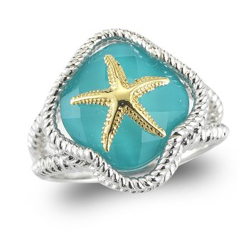 "Sterling Silver and 14K Starfish Ring with Turquoise & Clear Quartz doublet 1/2"" wide on top"