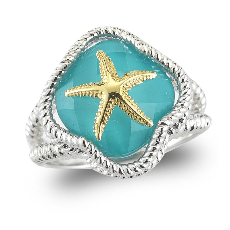 "Shula NY Sterling Silver and 14K Starfish Ring with Turquoise & Clear Quartz doublet 1/2"" wide on top"