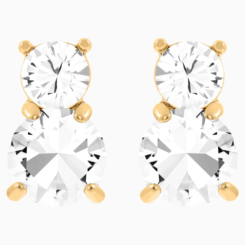 Swarovski Solitaire Double Pierced Earrings, White, Gold-tone plated