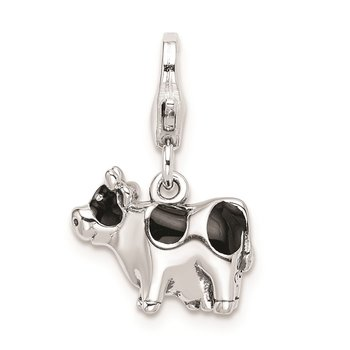 Sterling Silver Amore La Vita Rhodium-pl Polished Enameled Cow Charm
