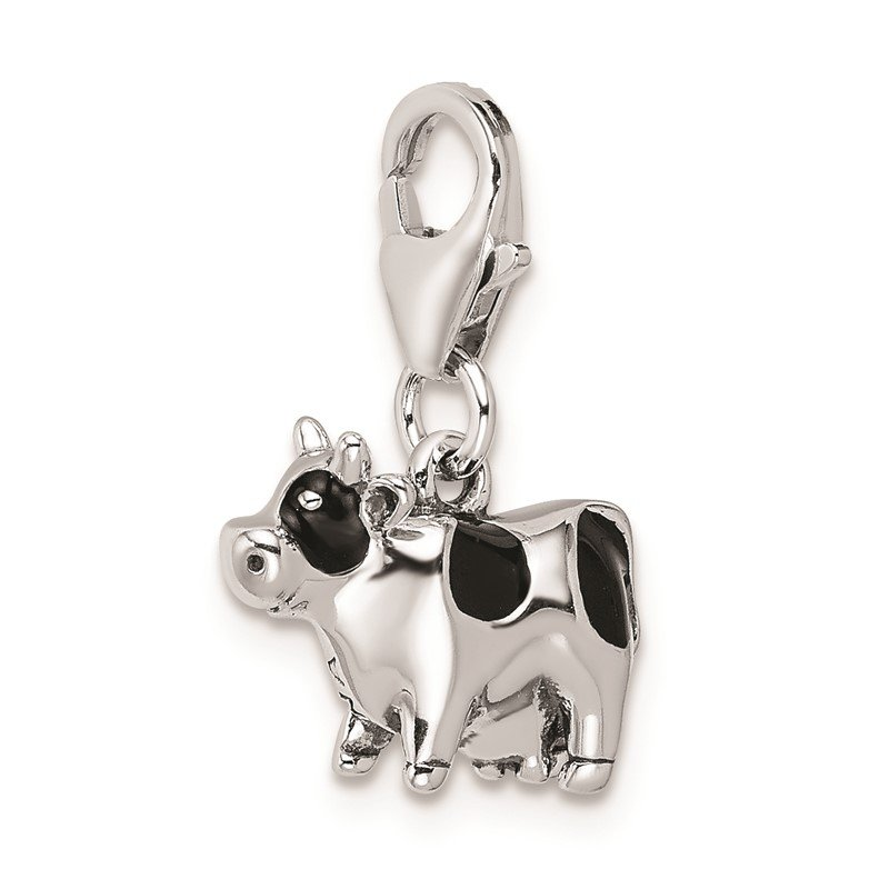 Quality Gold Sterling Silver Amore La Vita Rhodium-pl Polished Enameled Cow Charm