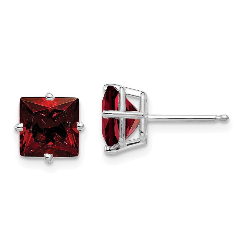 J.F. Kruse Signature Collection 14k White Gold 7mm Princess Cut Garnet Earrings
