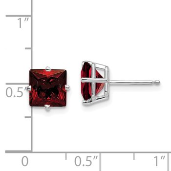 14k White Gold 7mm Princess Cut Garnet Earrings
