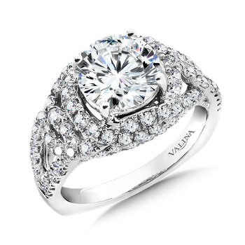 Diamond Split Shank Engagement Ring Mounting in 14K White Gold (1.04  ct. tw.)