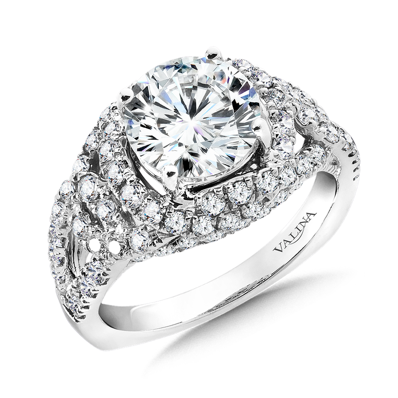 Valina Diamond Split Shank Engagement Ring Mounting in 14K White Gold (1.04  ct. tw.)