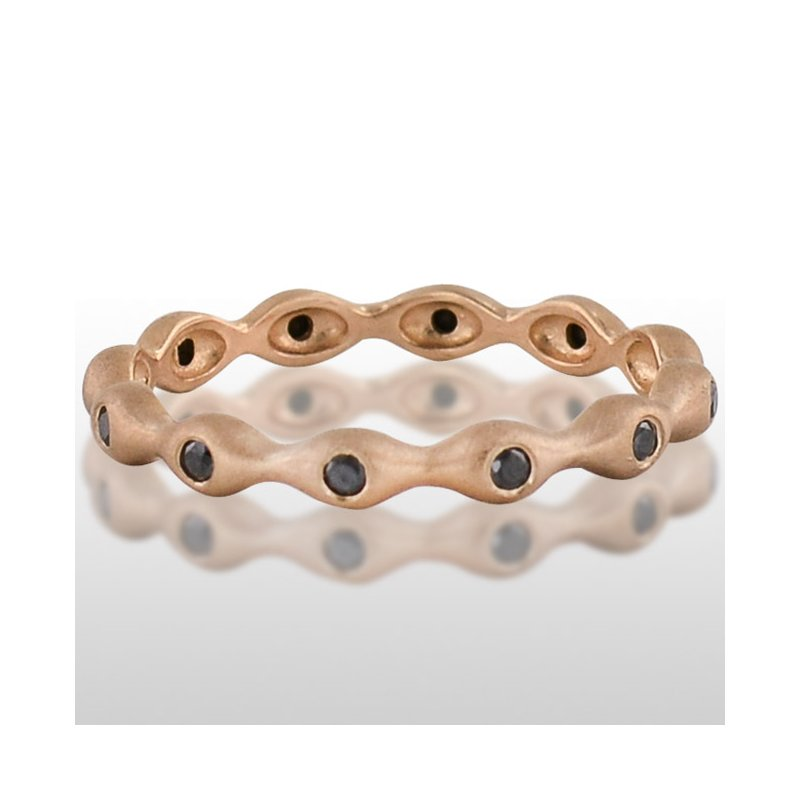 Novell Ladie's Pink Gold Black Diamond Ring
