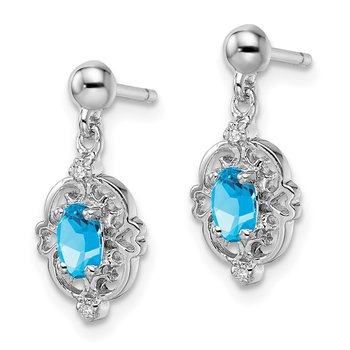 Sterling Silver RhodiumPear Swiss Blue Topaz & Diamond Post Earrings