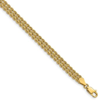 14k 5.5mm Triple Strand Rope Bracelet