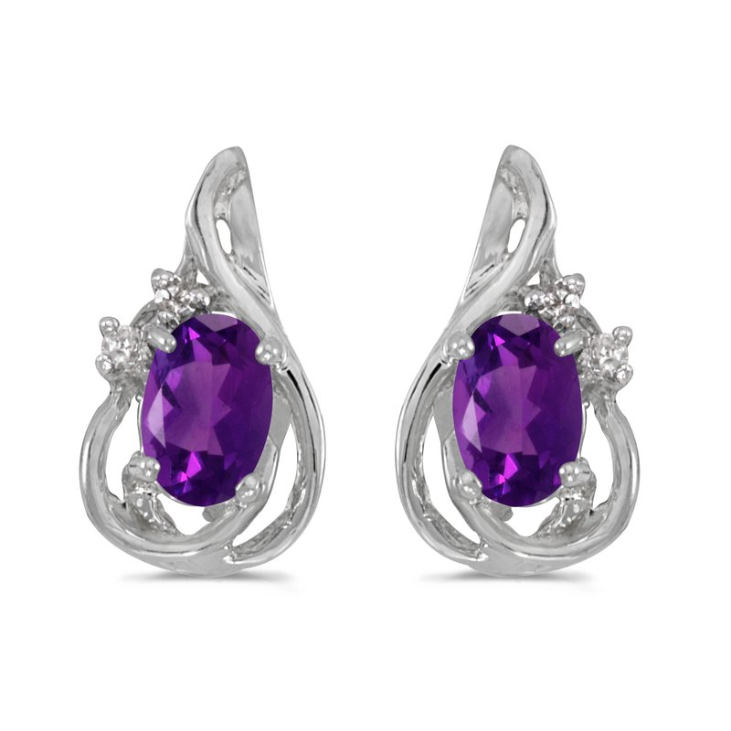 Color Merchants 10k White Gold Oval Amethyst And Diamond Teardrop Earrings
