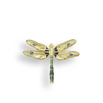 Yellow Dragonfly Pendant.18K -Diamond - Plique-a-Jour