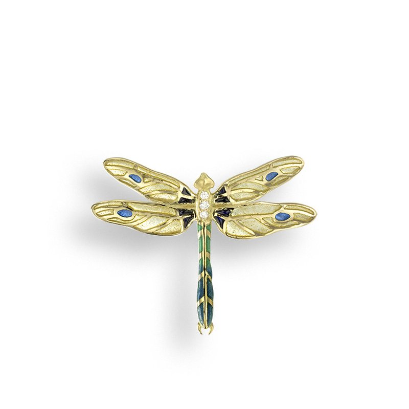 Nicole Barr Designs Yellow Dragonfly Pendant.18K -Diamond - Plique-a-Jour