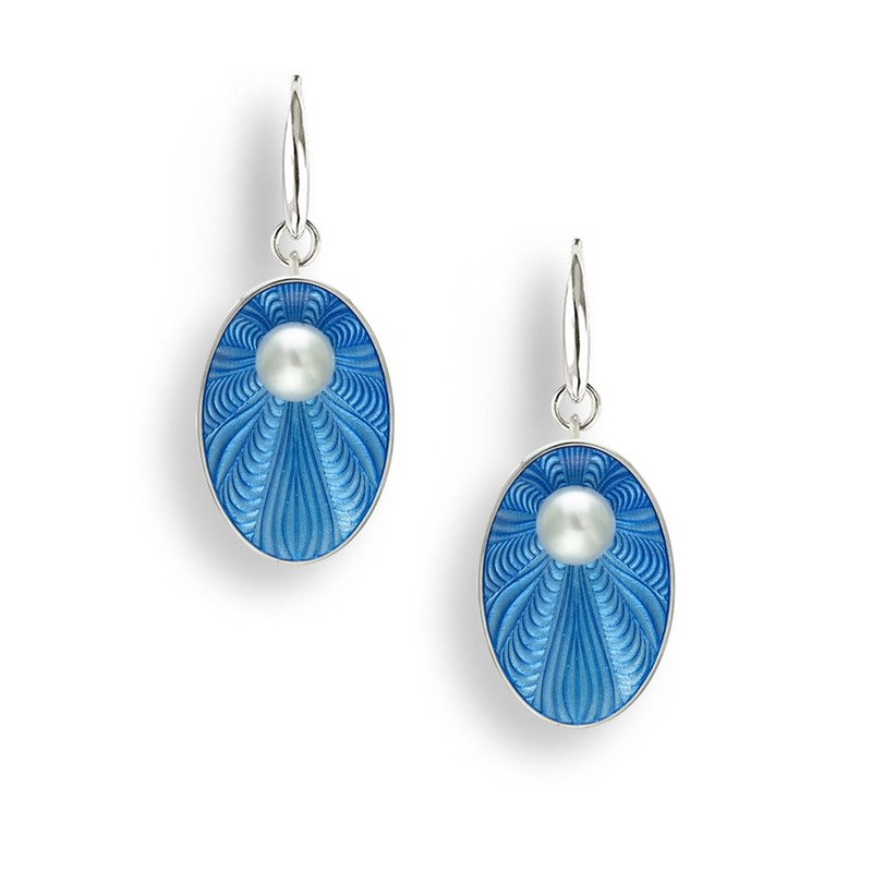 Nicole Barr Designs Blue Oval Wire Earrings.Sterling Silver-Freshwater Pearls