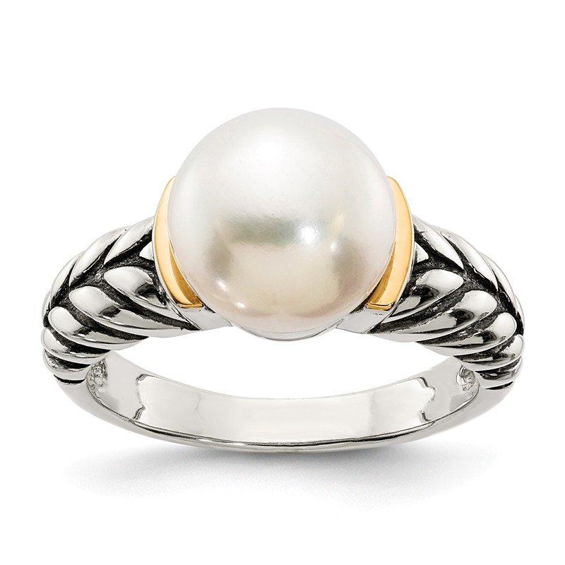 Shey Couture Sterling Silver w/14k 10mm Button FW Cultured Pearl Ring