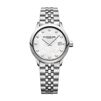 Ladies Quartz Date Watch, 29mm steel on steel, white mother-of-pearl dial, 12 diamonds