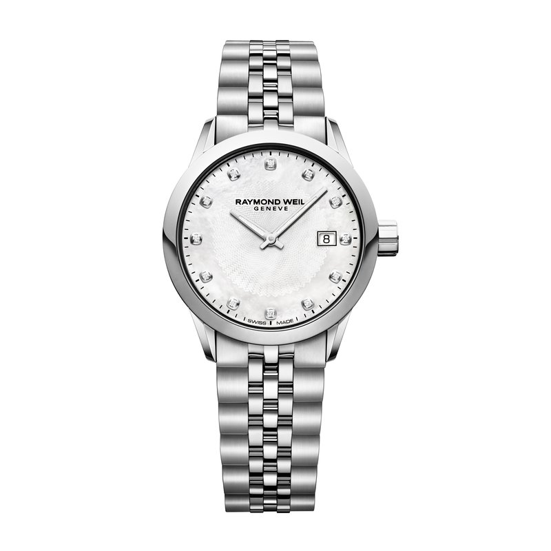 Raymond Weil Ladies Quartz Date Watch, 29mm steel on steel, white mother-of-pearl dial, 12 diamonds