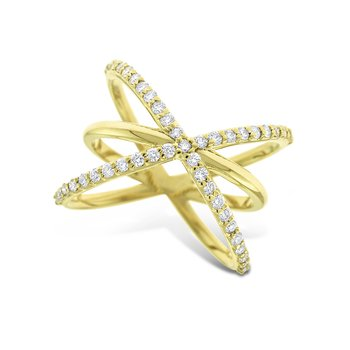 Diamond Criss Cross Ring in 14K Yellow Gold with 45 Diamonds Weighing .45 ct tw