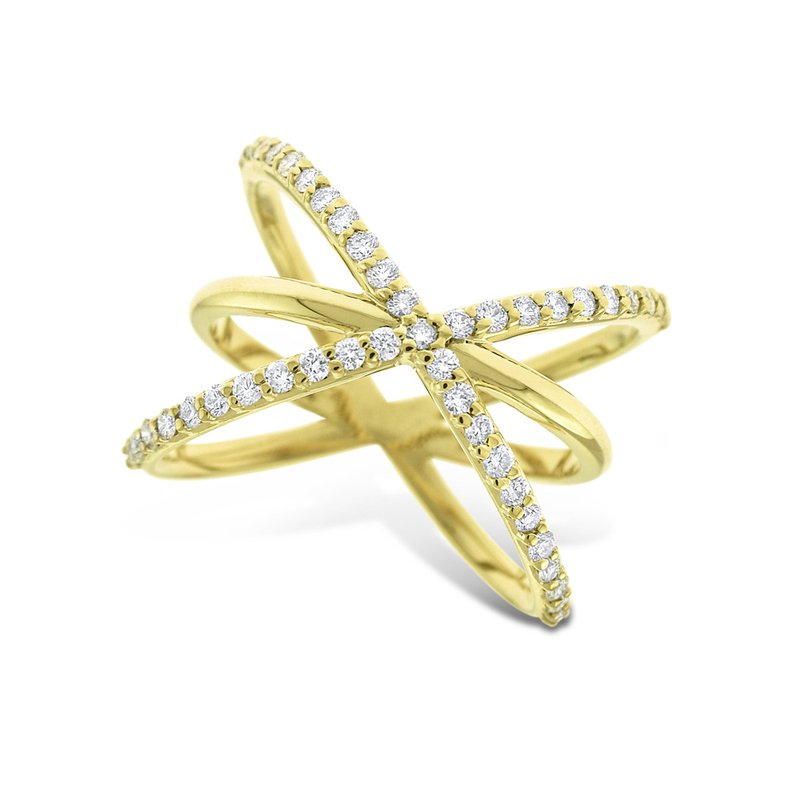 KC Designs Diamond Criss Cross Ring in 14K Yellow Gold with 45 Diamonds Weighing .45 ct tw