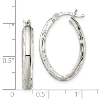 Sterling Silver Polished Diamond-cut Edge Oval Hoop Earrings