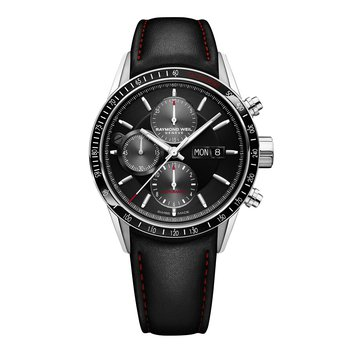 Men's Automatic Chronograph Watch, 42mm steel on leather strap, black dial, tachometer bezel