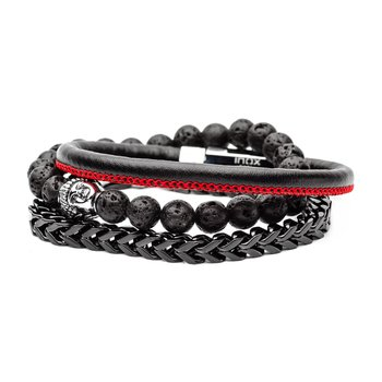 Lava Bead, Black Plated Steel And Black Leather Stackable Bracelets