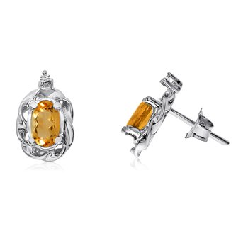 14k White Gold Citrine Scroll Diamond Earrings