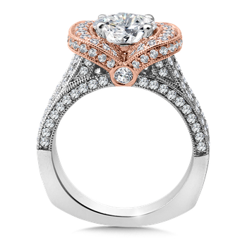 Diamond Engagement Ring Mounting in 14K White/Rose Gold (1.34 ct. tw.)