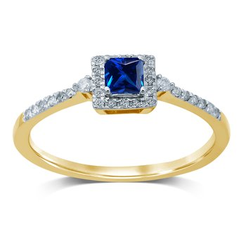 14K 0.14Ct  Diamond  Saphire  Ring