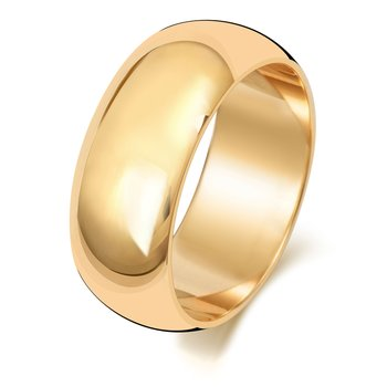 9Ct Yellow Gold 8mm D Shape Wedding Ring