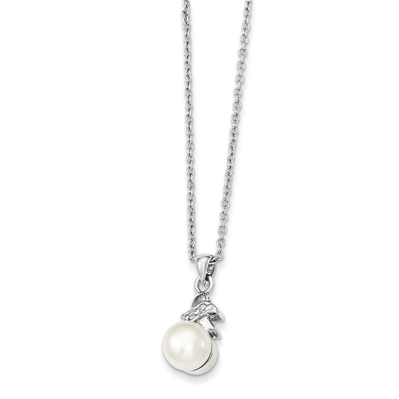 Quality Gold Sterling Silver Rhodium-plated 6-7mm White FW Cultured Pearl CZ Pendant