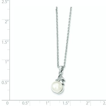 Sterling Silver Rh-plated 6-7mm White FW Cultured Pearl CZ Pendant