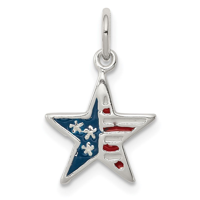 Quality Gold Sterling Silver Polished Enamel American Flag Star Pendant