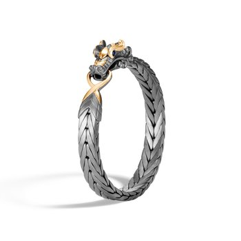 Legends Naga 9MM Station Bracelet, Blackened Silver, 18K Gold