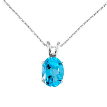 14k White Gold Oval Large 6x8 mm Blue Topaz Pendant
