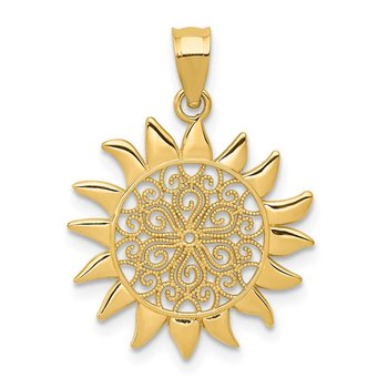 14k Polished Filigree Sun Pendant