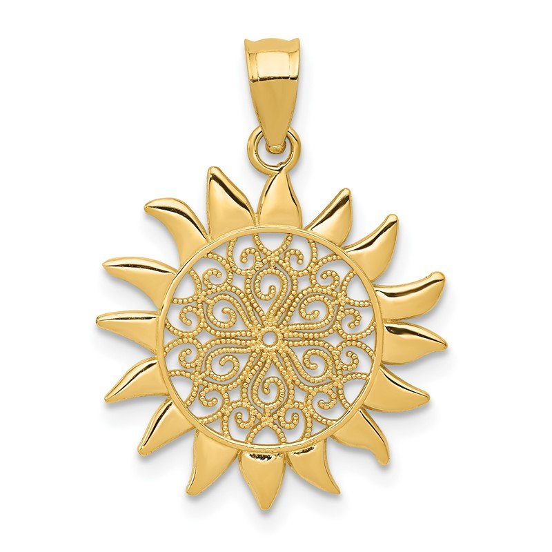 Quality Gold 14k Polished Filigree Sun Pendant