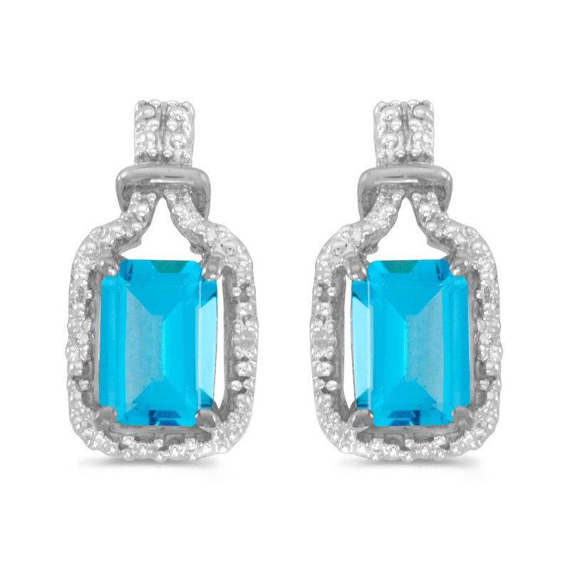 Color Merchants 14k White Gold Emerald-cut Blue Topaz And Diamond Earrings