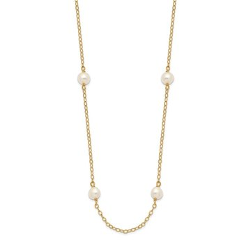 14K 4-5mm White Near Round Freshwater Cultured Pearl 8-station Necklace