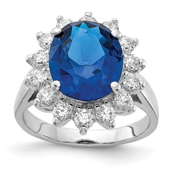 Cheryl M Sterling Silver Rhod-plated CZ & Created Dark Blue Spinel Ring