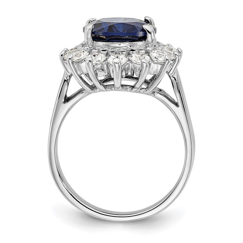 Sparkling Jewels Collection Cheryl M Sterling Silver Rhod-plated CZ & Created Dark Blue Spinel Ring