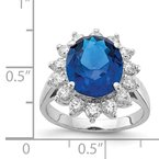 Cheryl M Cheryl M Sterling Silver CZ & Lab created Dark Blue Spinel Ring