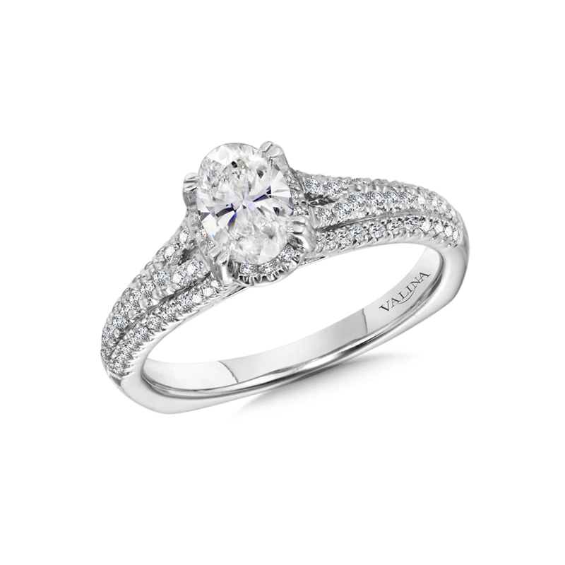 Valina Oval Center Split Shank Engagement Ring in 14K White Gold (0.40 ct. tw.)