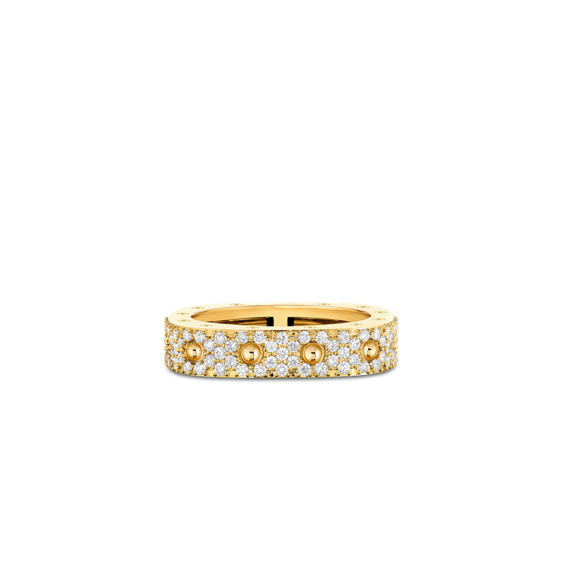 Roberto Coin 1 Row Square Ring With Diamonds &Ndash; 18K Yellow Gold, 7