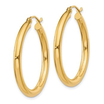 14K Polished 3mm Tube Hoop Earrings