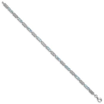 Sterling Silver Rhodium-plated Aquamarine and Diamond Bracelet