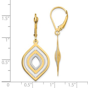 Leslie's 14k with Rhodium Polished Leverback Earrings